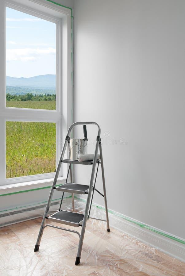 Rinnovamento della stanza con la bella vista fotografie stock libere da diritti