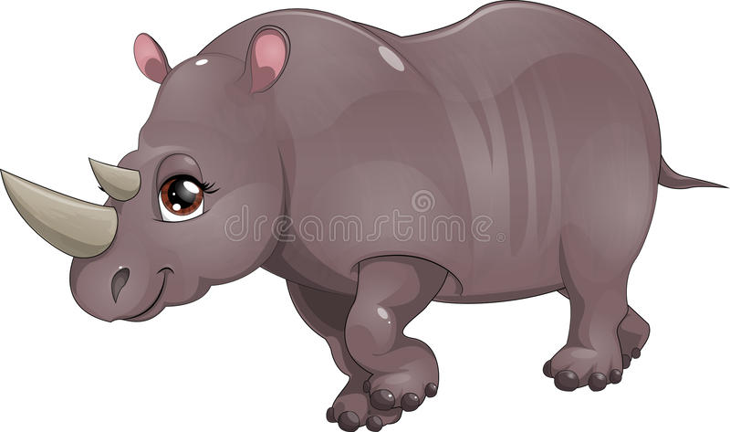 Rino. Rhinoceros drawn on a white background vector illustration
