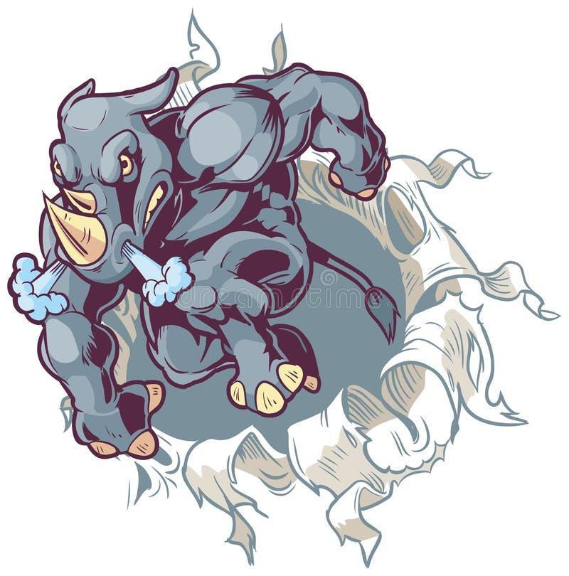 Rinoceronte agachado de la mascota de la historieta que rasga a través del fondo de papel libre illustration