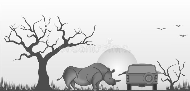 Rinoceronte amistoso ilustración del vector