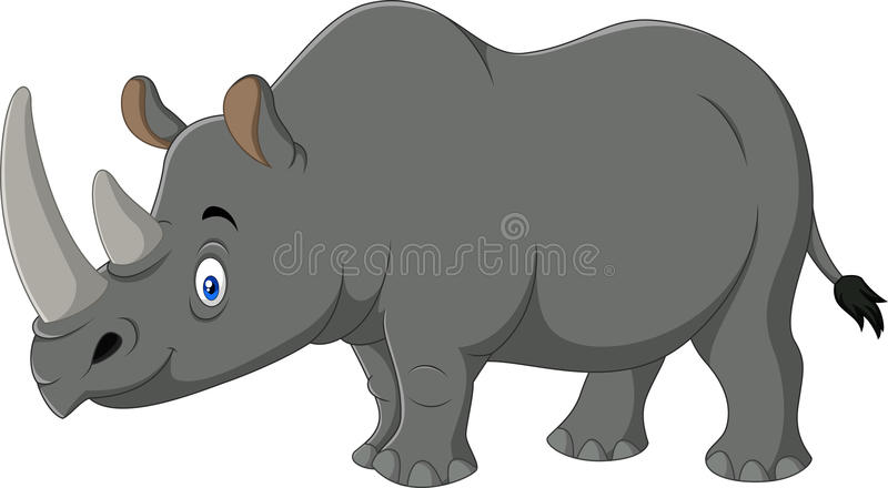 Rinoceronte de la historieta aislado en el fondo blanco stock de ilustración