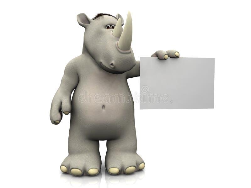 Rinoceronte de la historieta con la muestra en blanco. ilustración del vector