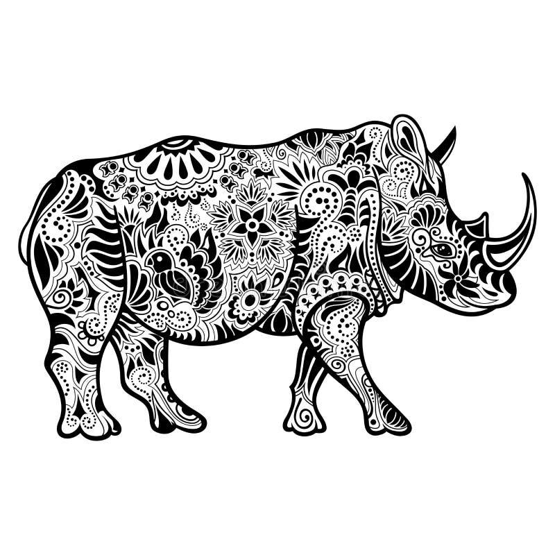 Rinoceronte decorativo tribal del vector stock de ilustración