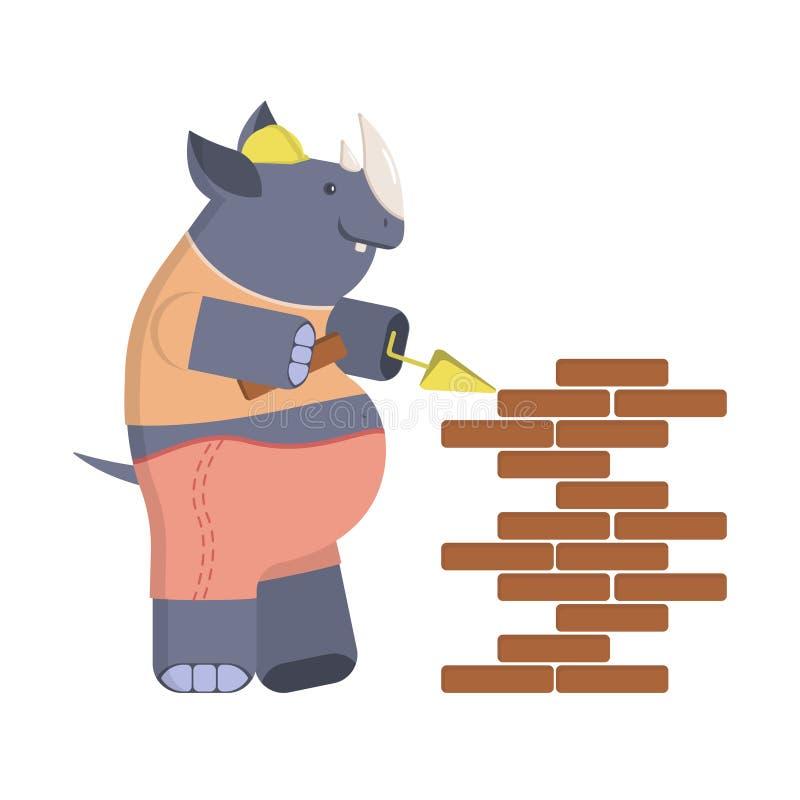 Rinoceronte do construtor dos desenhos animados ilustração stock