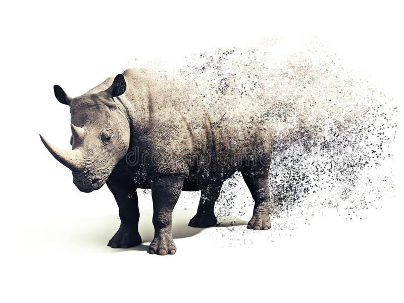 Rinoceronte em um fundo branco com um efeito do sumário da dispersão foto de stock