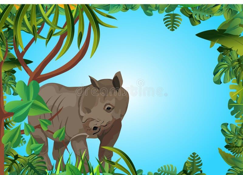 Rinoceronte en la selva, marco floral fotos de archivo