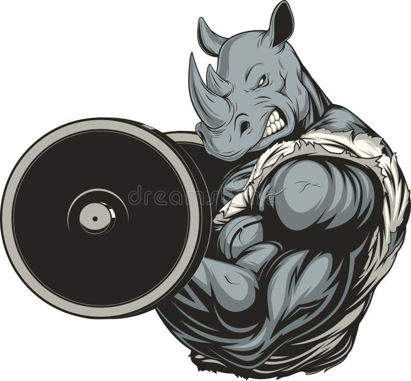 Rinoceronte feroz fuerte ilustración del vector
