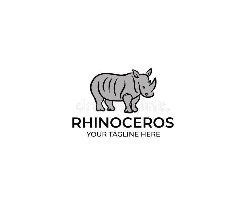 Rinoceronte Logo Template linear Diseño del vector del rinoceronte stock de ilustración