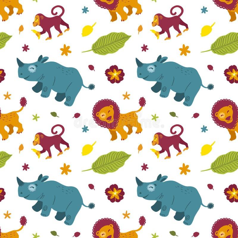 Rinoceronte, macaco, leão e plantas africanos tropicais dos animais Teste padr?o sem emenda ilustração do vetor
