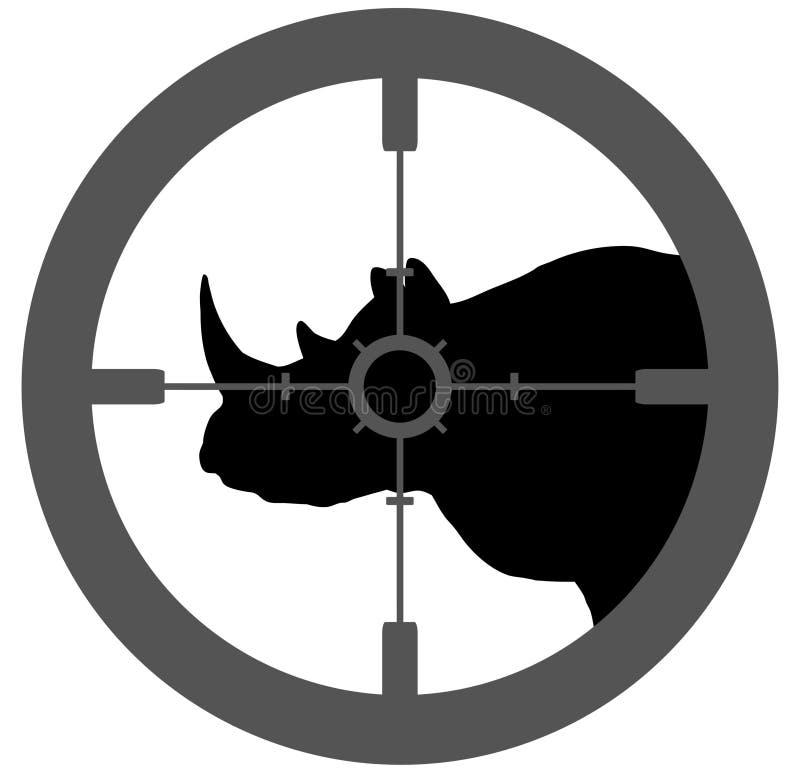 Rinoceronte psto em perigo ilustração stock