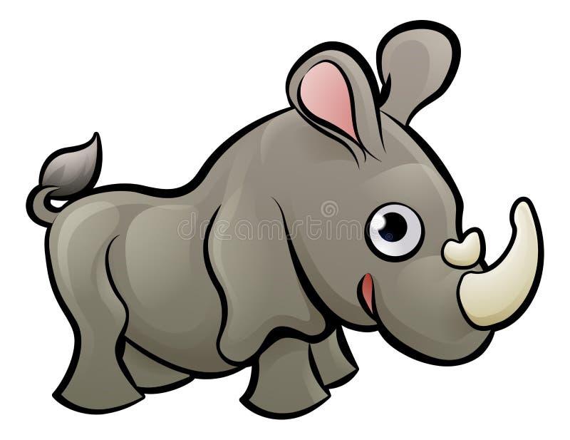 Rinoceronte Safari Animals Cartoon Character ilustración del vector