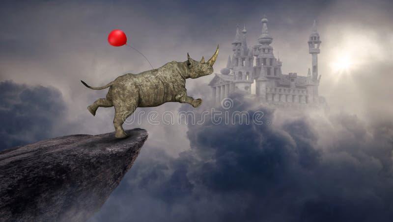 Rinoceronte surreale, rinoceronte, castello di fantasia illustrazione vettoriale