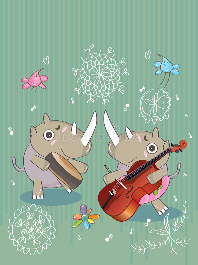 Rinoceronti Music_eps royalty illustrazione gratis