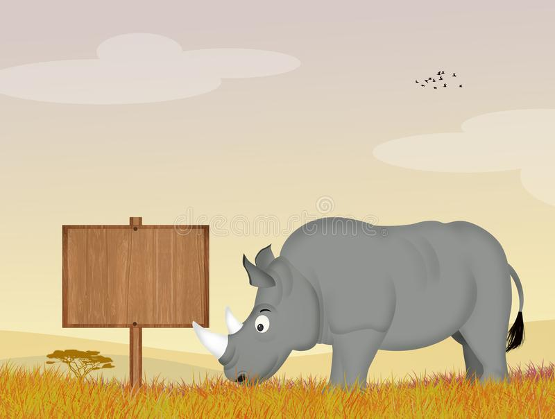 Rinoceros in de wildernis stock illustratie