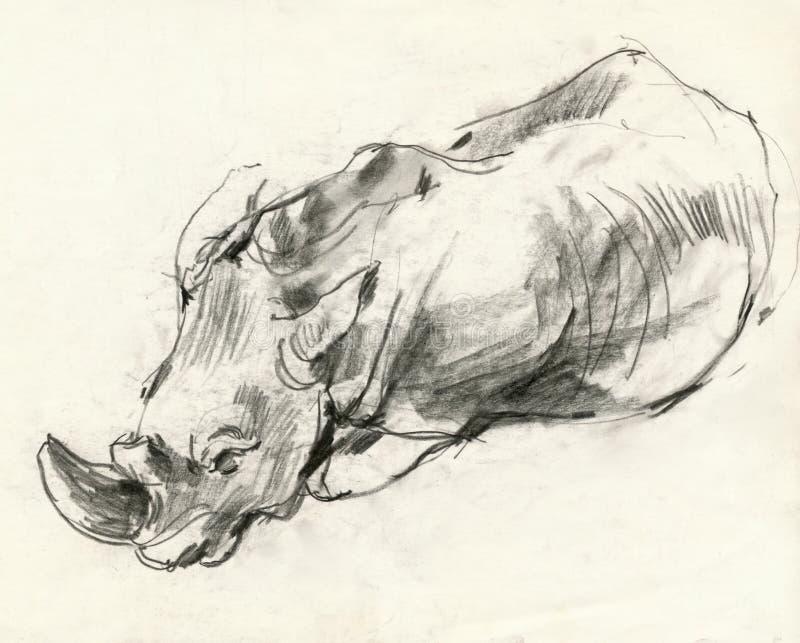 Rinoceros, die 2 trekt vector illustratie