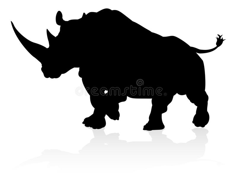 Rinoceros Dierlijk Silhouet royalty-vrije illustratie