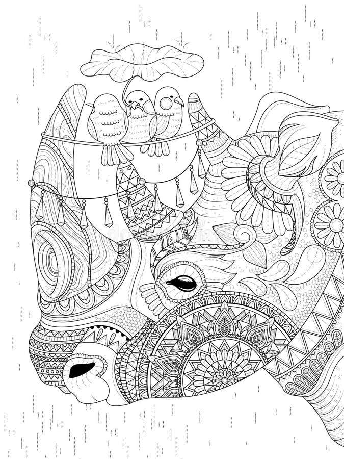 Rinoceros volwassen kleurende pagina stock illustratie