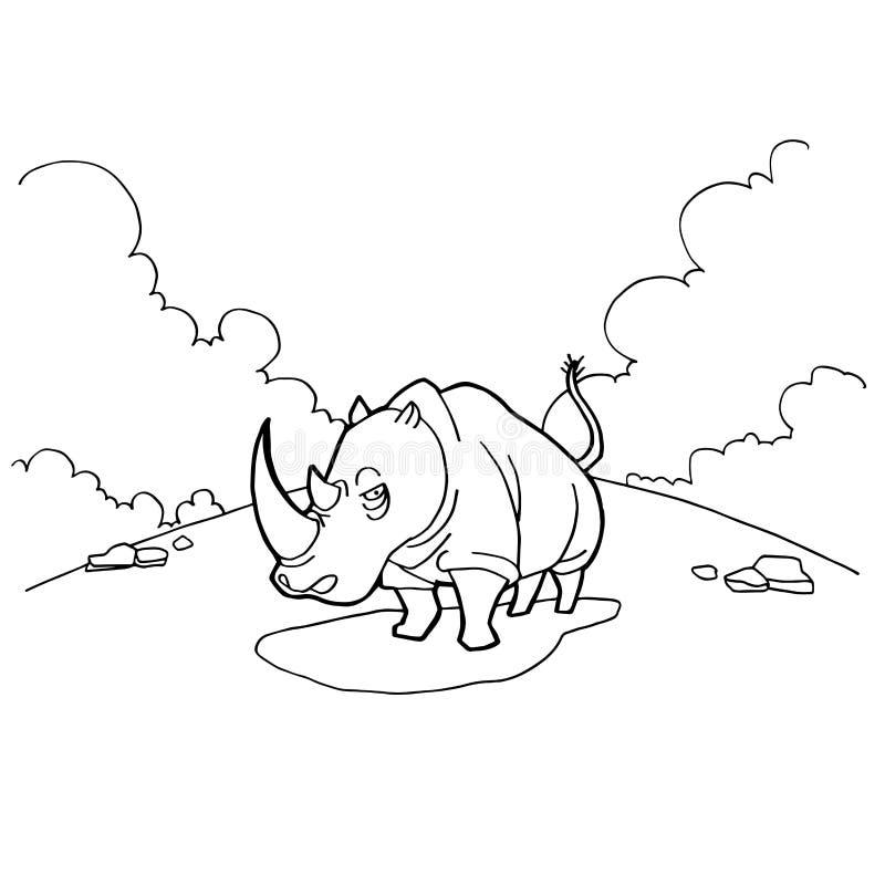 Rinocerosbeeldverhaal het kleuren pagina'svector vector illustratie