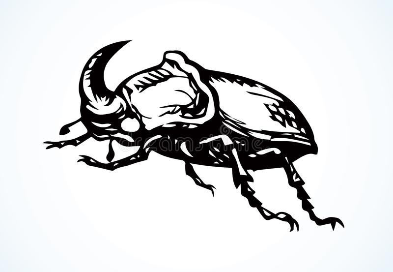 Rinoceroskever Vector tekening royalty-vrije illustratie