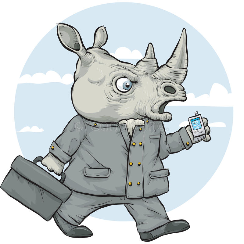 Rinoceroszakenman royalty-vrije illustratie