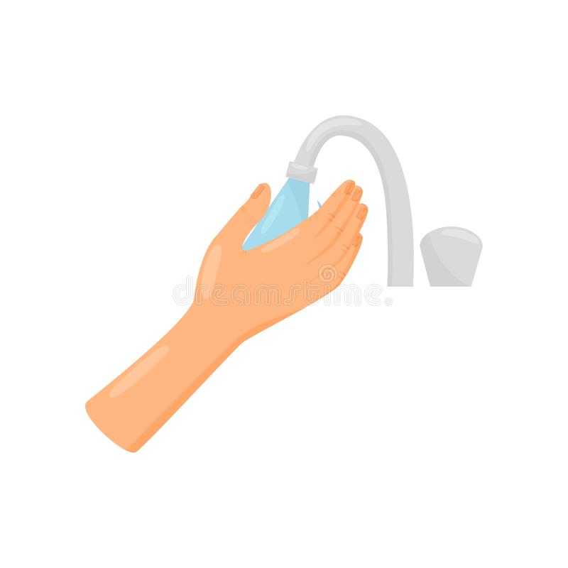 Rinsing hands with water, hygiene, health care and sanitation, prevention of infectious diseases vector Illustration on. Rinsing hands with water, hygiene stock illustration
