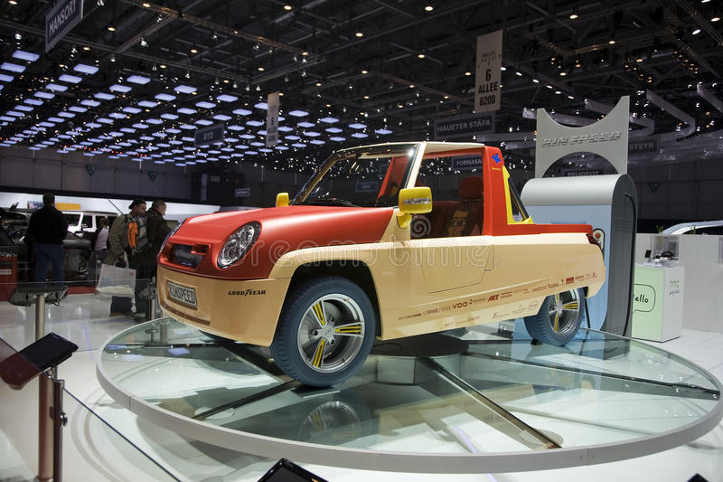 Rinspeed BamBoo. Concept car at the Geneva Auto Show. The vehicle is meant as a transportation for holiday resorts. The pop artist James Rizzi helped design the stock photos
