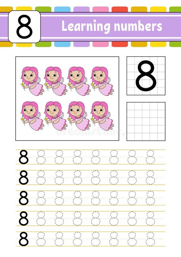 Rintracci e scriva Pratica della scrittura a mano Apprendimento dei numeri per i bambini Foglio di lavoro di sviluppo di istruzio illustrazione di stock