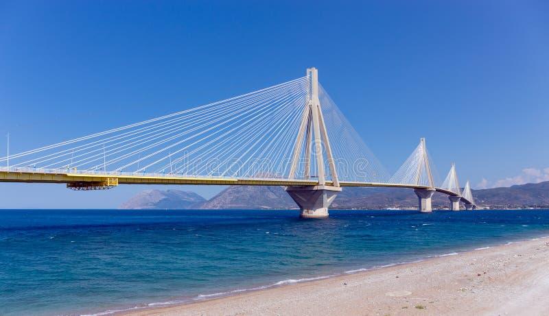 Rio–Antirrio bridge, Peloponnese, Greece. The Rio–Antirrio bridge, officially the Charilaos Trikoupis Bridge is one of the world's longest multi stock photography