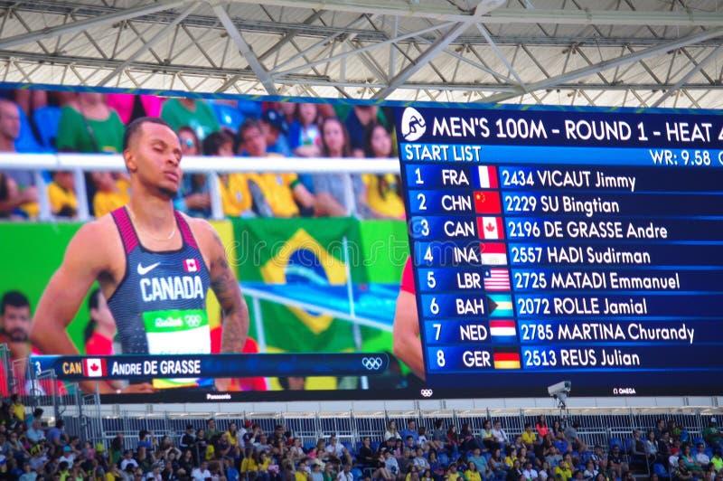 Rio2016 οθόνη Ολυμπιακών Αγώνων με το Andre de Grasse στοκ εικόνες με δικαίωμα ελεύθερης χρήσης