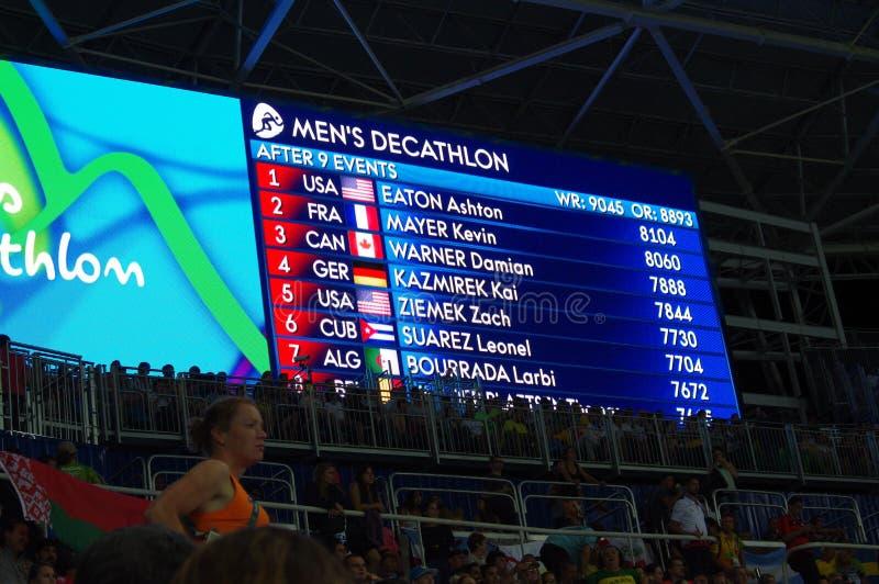 Rio2016 οθόνη Ολυμπιακών Αγώνων στοκ φωτογραφίες με δικαίωμα ελεύθερης χρήσης