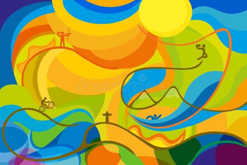Rio 2016 abstrakcjonistycznych kolorowych tło ilustracji