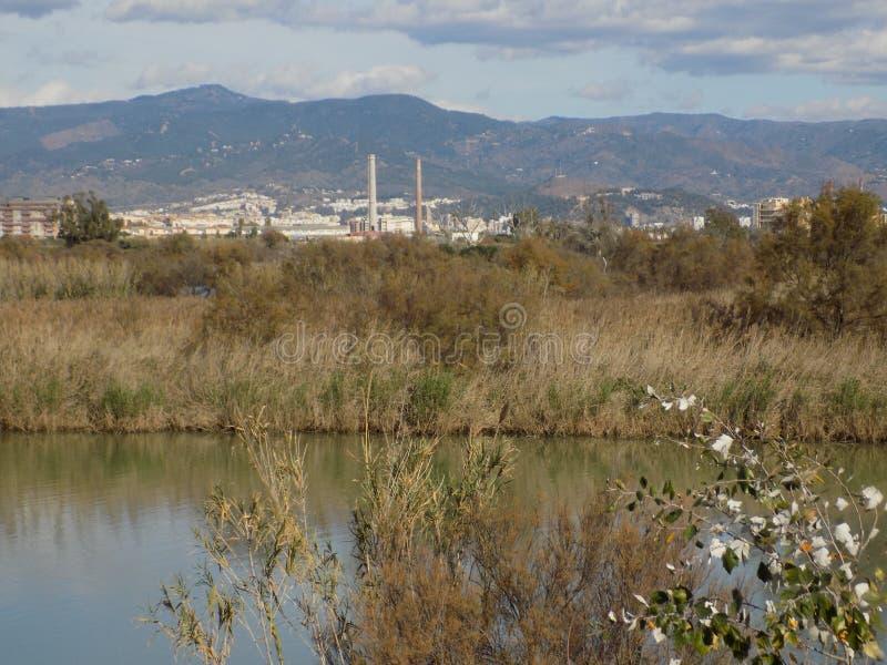 Rio-Andaluzia-Espanha da baía-Guadalhorce de Malaga imagem de stock