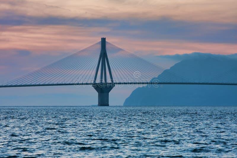 Rio - Antirrio Bridge. By its real name Charilaos Trikoupis bridge connects Peloponnese peninsula to Greece mainland stock images