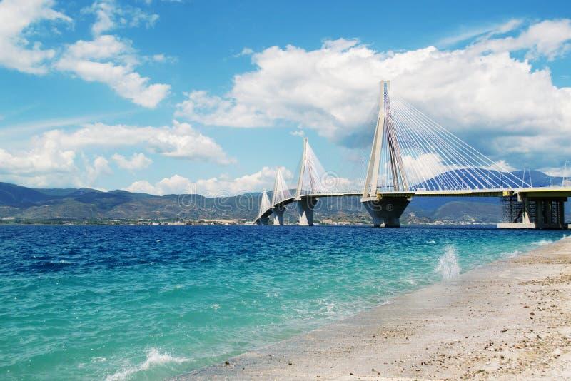 Rio Antirrio Bridge fotografia de stock