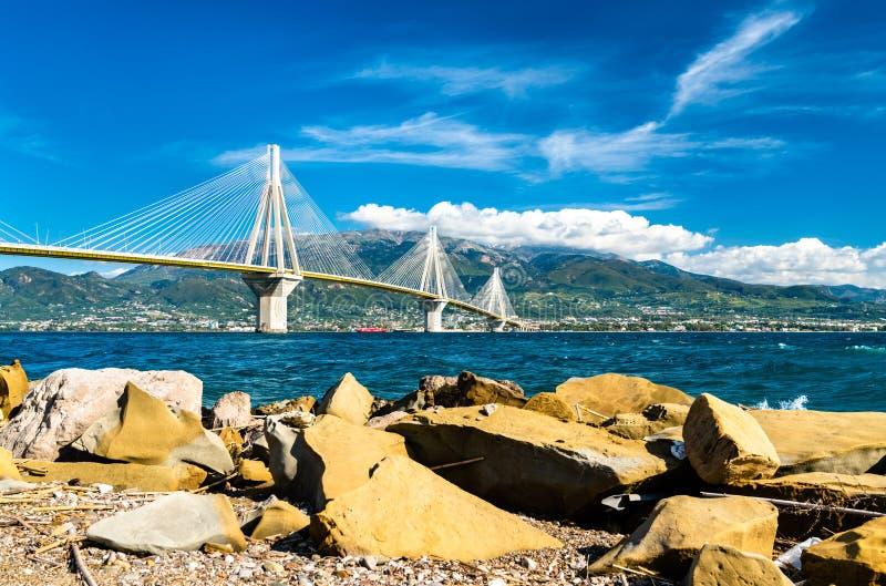Rio-Antirrio bridge across the Gulf of Corinth in Greece. Rio-Antirrio bridge across the Gulf of Corinth near Patras in Greece stock photo
