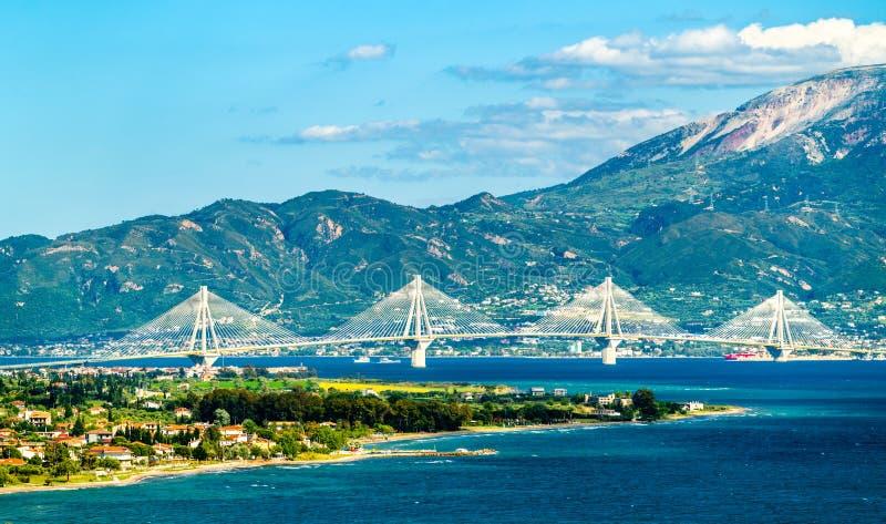 Rio-Antirrio bridge across the Gulf of Corinth in Greece. Rio-Antirrio bridge across the Gulf of Corinth near Patras in Greece royalty free stock photo