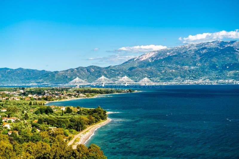 Rio-Antirrio bridge across the Gulf of Corinth in Greece. Rio-Antirrio bridge across the Gulf of Corinth near Patras in Greece royalty free stock images