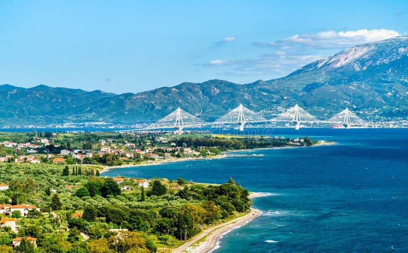 Rio-Antirrio bridge across the Gulf of Corinth in Greece. Rio-Antirrio bridge across the Gulf of Corinth near Patras in Greece royalty free stock image