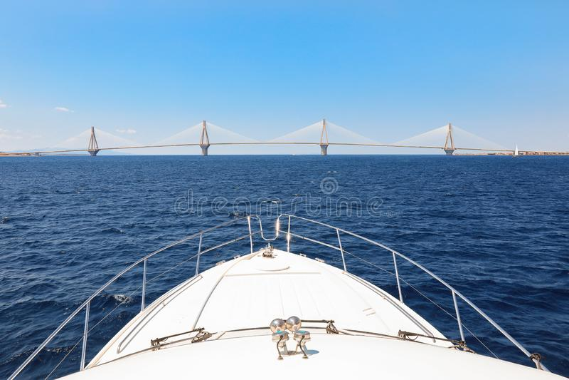 The Rio Antirrio Bridge or Charilaos Trikoupis Bridge, photo taken from the boat during summer holidays 2018. stock image