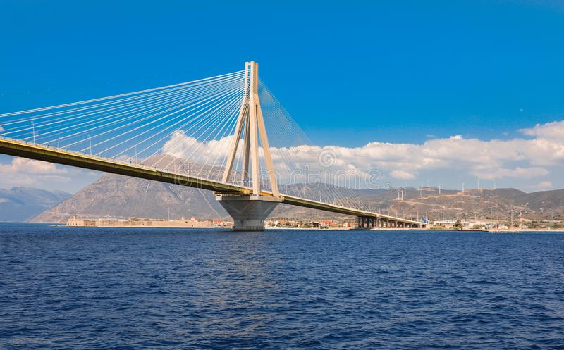 The Rio Antirrio Bridge or Charilaos Trikoupis Bridge, photo taken from the boat during summer holidays 2018. Horizontal stock image