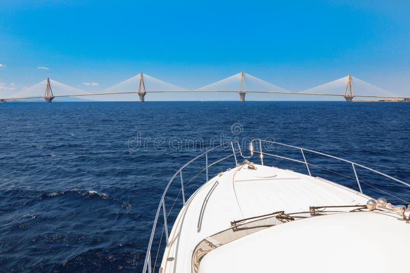 The Rio Antirrio Bridge or Charilaos Trikoupis Bridge, photo taken from the boat during summer holidays 2018. Horizontal stock photos