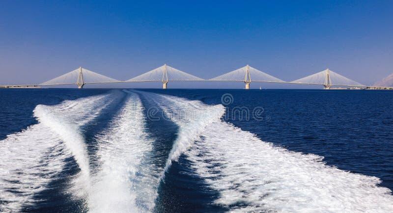 The Rio Antirrio Bridge or Charilaos Trikoupis Bridge, photo taken from the boat during summer holidays 2018. Horizontal stock photo