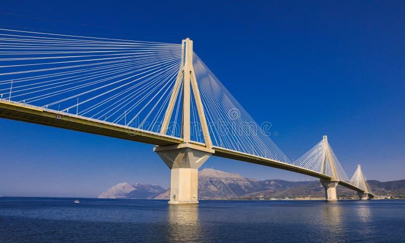 The Rio Antirrio Bridge or Charilaos Trikoupis Bridge, photo taken from the boat during summer holidays 2018. Horizontal royalty free stock images
