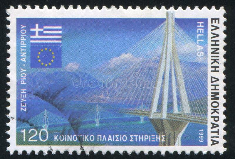 Rio Antirrio bridge. GREECE - CIRCA 1999: stamp printed by Greece, shows Rio Antirrio bridge, circa 1999 stock photos