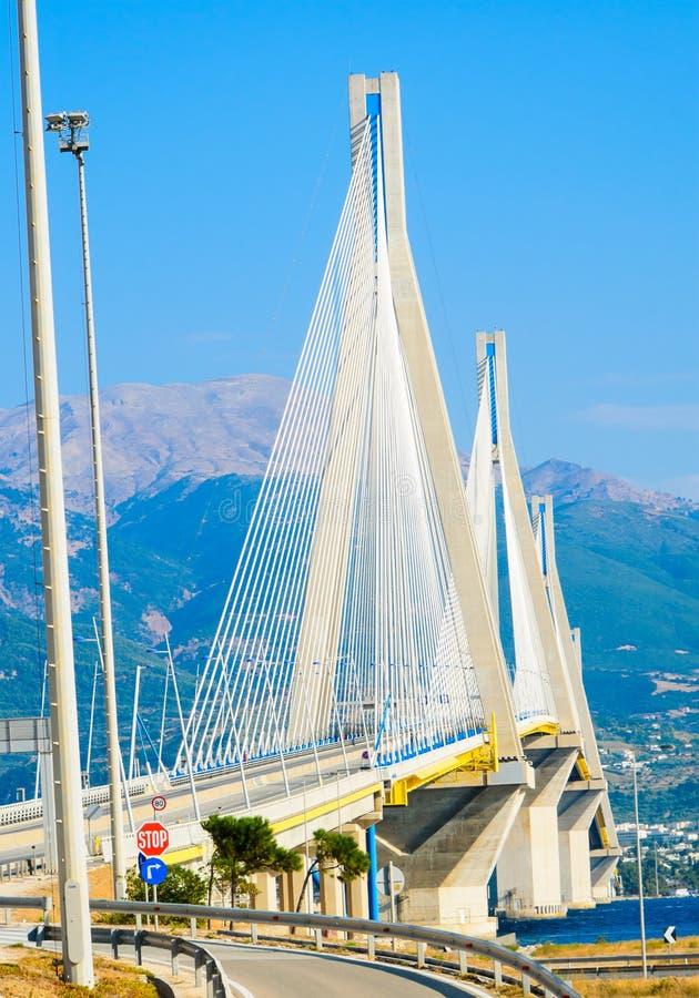 The Rio-Antirrio bridge, Greece. The Rio-Antirrio bridge, officially the Charilaos Trikoupis Bridge after the statesman who first envisaged it, is the worlds stock photos