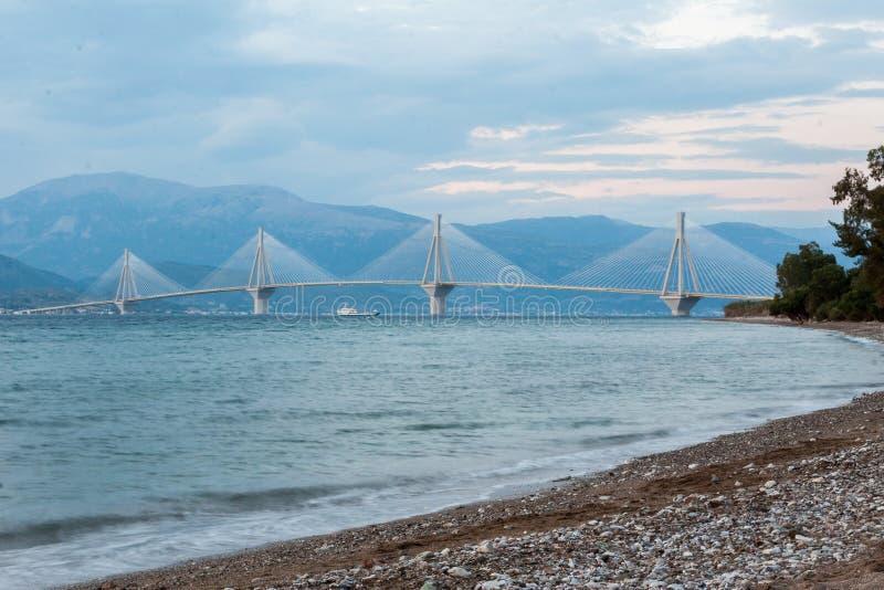 Rio Antirrio Bridge Greece. The suspension bridge Rio Antirrio over the gulf of corinth in Patras, Greece royalty free stock photography