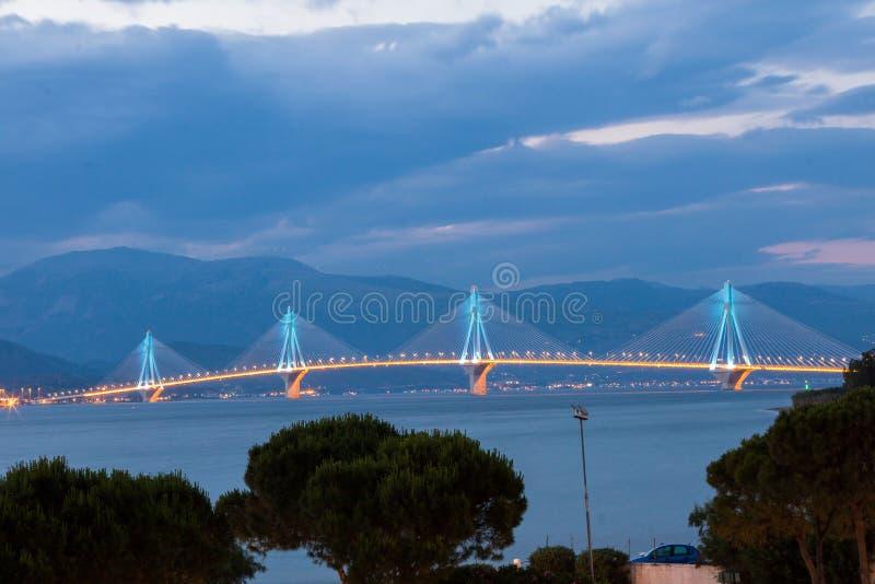 Rio Antirrio Bridge Greece. The suspension bridge Rio Antirrio over the gulf of corinth in Patras, Greece royalty free stock images