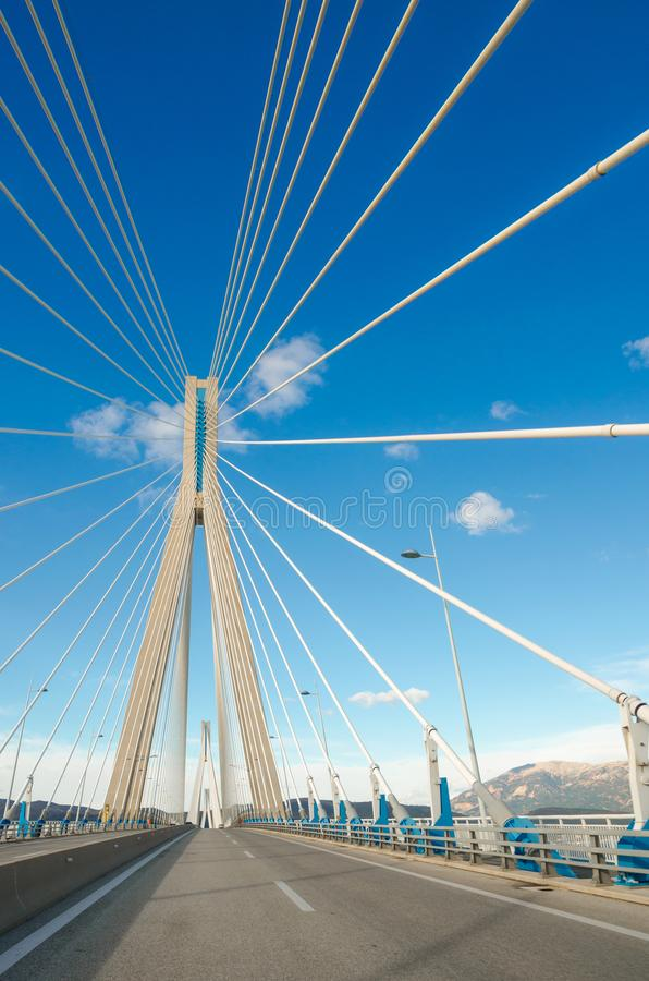 The Rio-Antirrio Bridge, officially the Charilaos Trikoupis Bridge, longest multi-span cable-stayed bridge. The Rio-Antirrio Bridge, officially the Charilaos stock photography