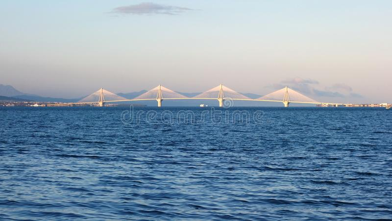 Rio Antirrio Bridge. Officially the Charilaos Tripoupis Bridge, multi span cable stayed road bridge, spanning Gulf of Corinth royalty free stock photo