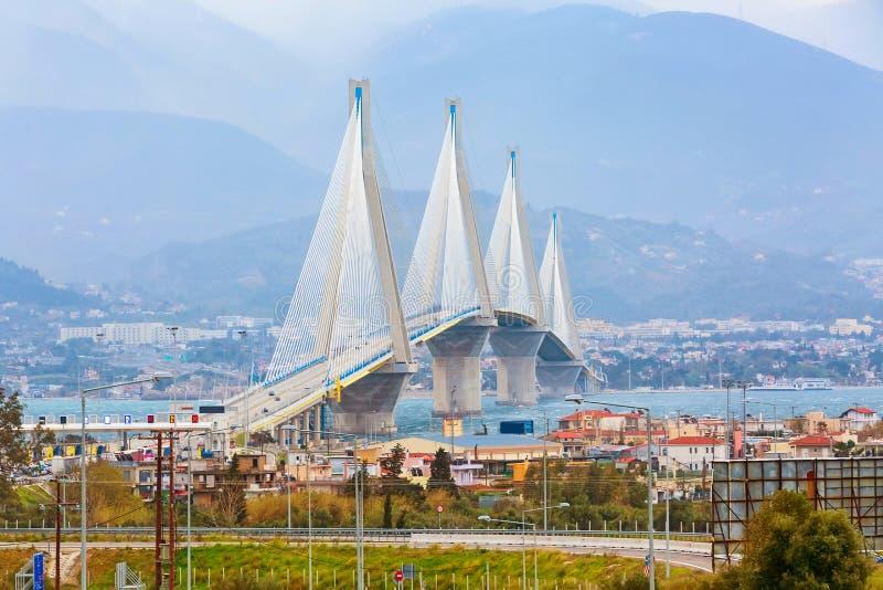 Rio-Antirrio Bridge, Peloponnese, Greece. Rio-Antirrio or Charilaos Trikoupis Bridge, between Peloponnese and mainland Greece royalty free stock image
